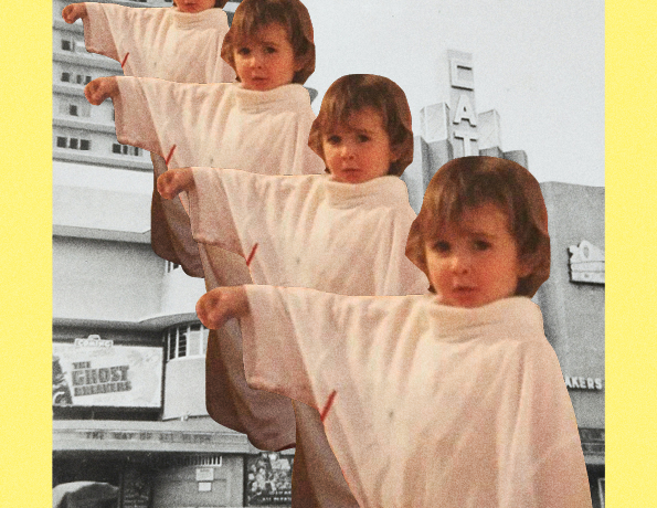 collage of a baby picture of the author on top of a black and white street background.