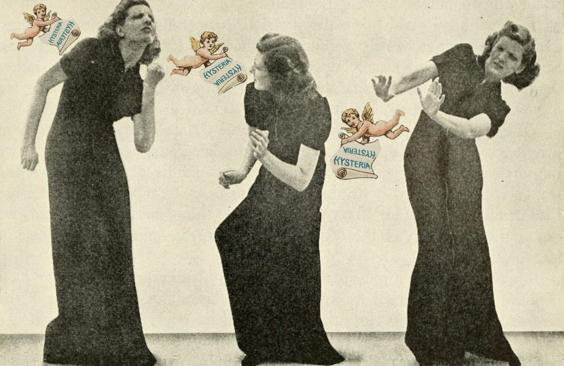 Collage by Charlie Fitz: sepia photograph of a white woman with short brown hair in a long, black short-sleeved dress. She is in three positions, ducking and avoiding the three floating colourful cherubs surrounding her. The cherubs hold a sign saying 'hysteria' in blue lettering on a white background.