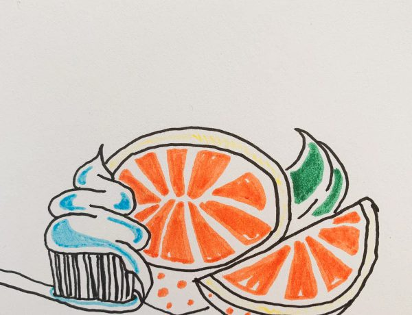 A drawing on a white background; half an orange is in the centre. Another quarter of the orange lying next to it, with some green leaves to the right. On the left, a toothbrush is lying flat, with some blue toothpaste on the bristles.