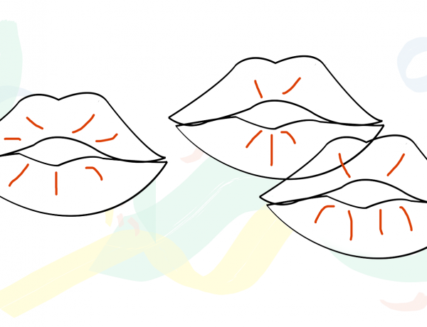 Hard of Hearing: a drawing of three outlined lips, with swirls of pastel green, yellow, and blue behind them.