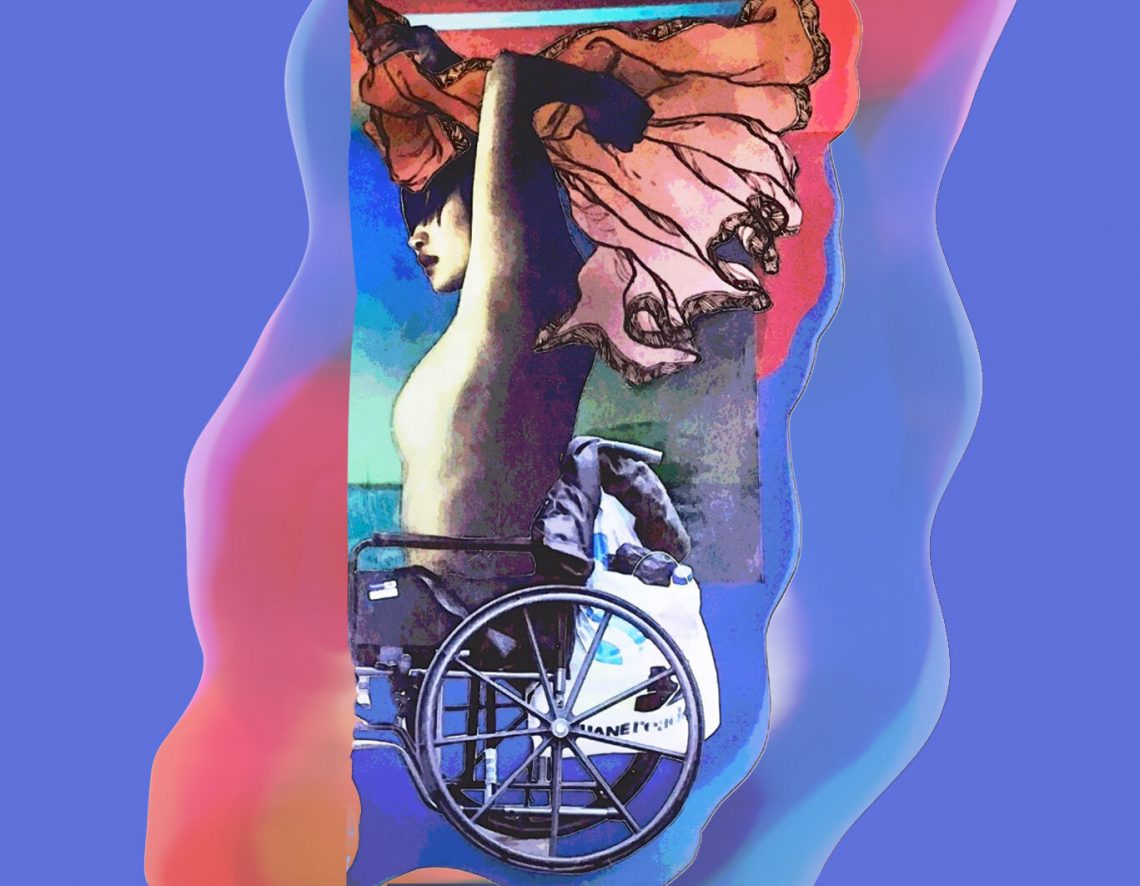 Collage of a person in a wheelchair with fabric flowing above their head. On a background of a swirl of purple, pink, and orange.