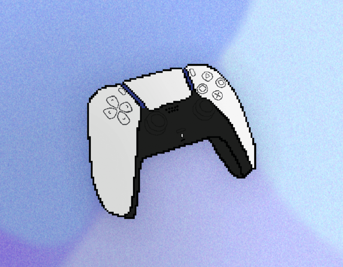 On a background of a blended blues and purples sits a pixelated version of a Playstation 5 controller.