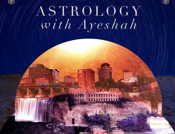 """Text reads """"Astrology with Ayeshah."""" A city by a river appears in a glowing orb. A dam drains the starry sky into the river. Behind the orb of the city is a rocky surface evocative of the moon's surface."""