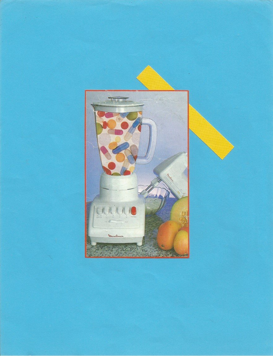 Collage of a blender full of pills.