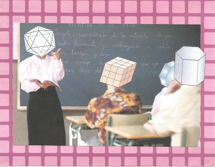 Collage of a teacher in a classroom, with their heads replaced with geometric shapes.