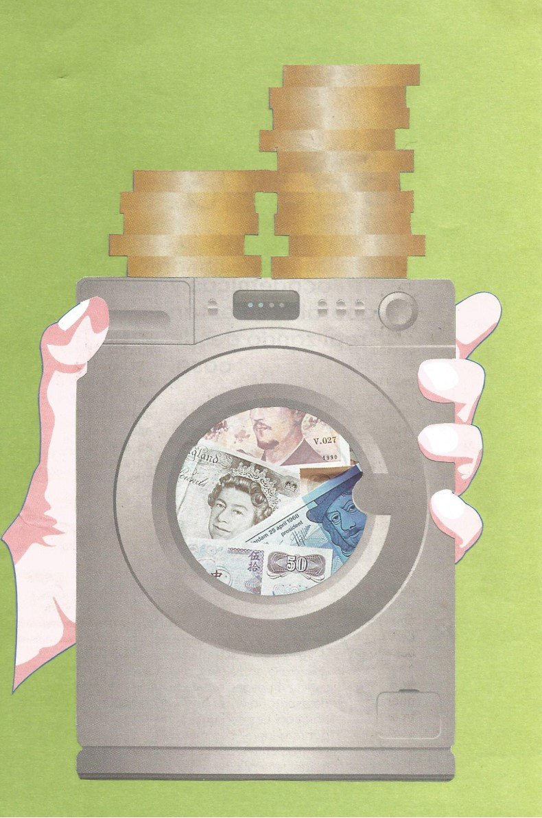 Collage of a washing machine full of money.