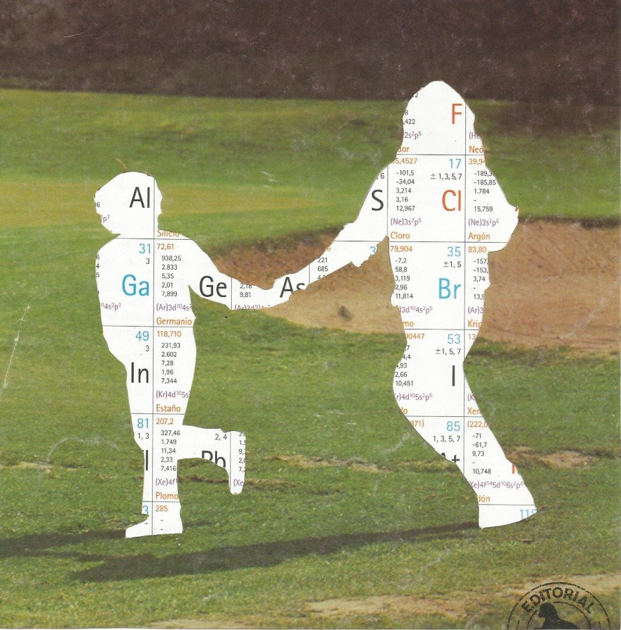Collage of two people in a field holding hands.
